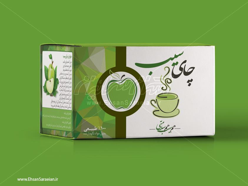 طراحی بسته بندی چای سیب کیسه ای / Packaging design apple tea bag